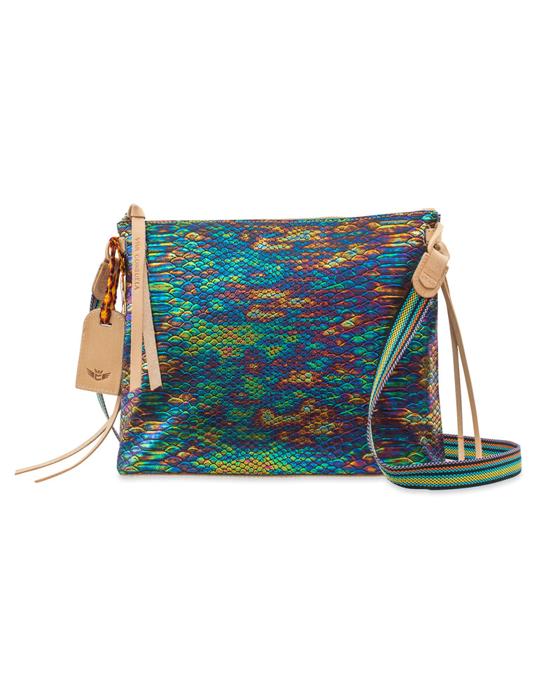 Sirena Downtown Crossbody in iridescent snake print by Consuela, front
