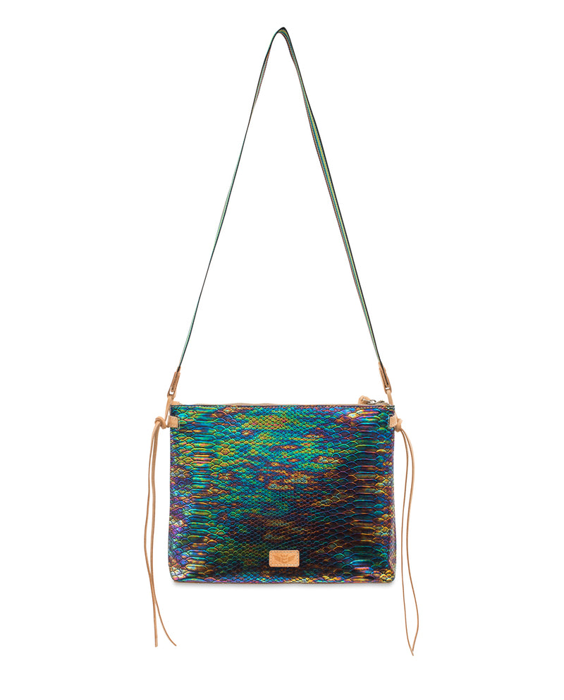 Sirena Downtown Crossbody in iridescent snake print by Consuela, with crossbody strap