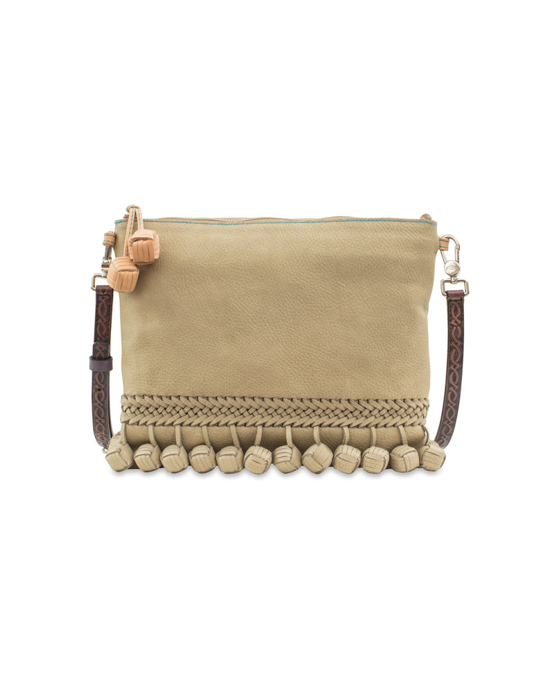 Paloma Fiesta Crossbody in putty pebbled leather by Consuela, front