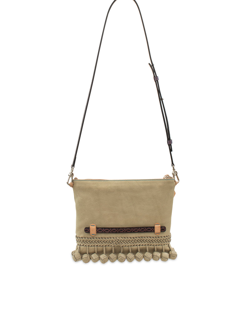 Paloma Fiesta Crossbody in putty pebbled leather by Consuela, back