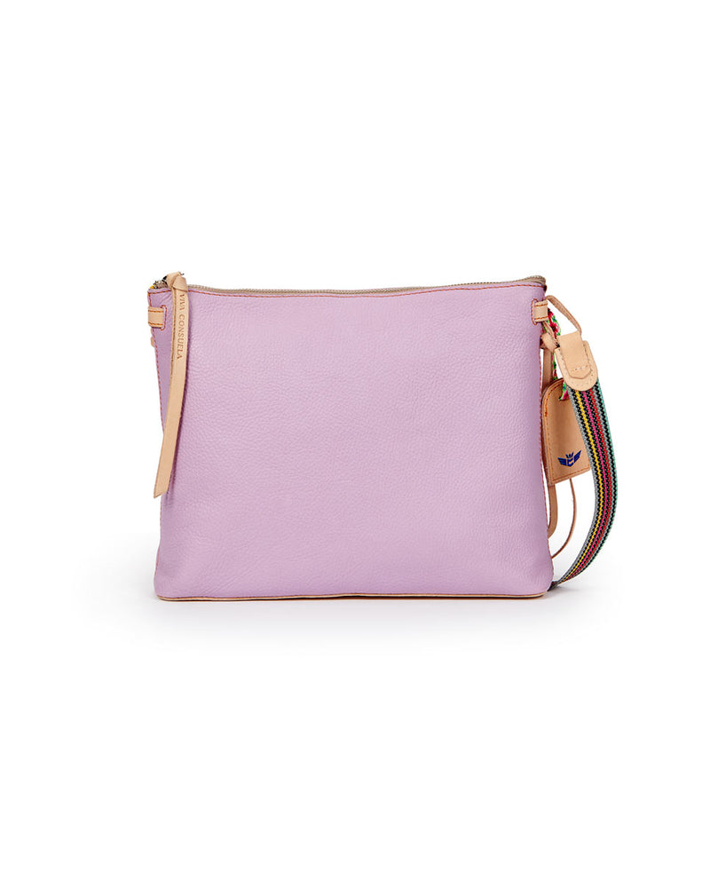 Lila Downtown Crossbody in lilac pebbled leather by Consuela, front view