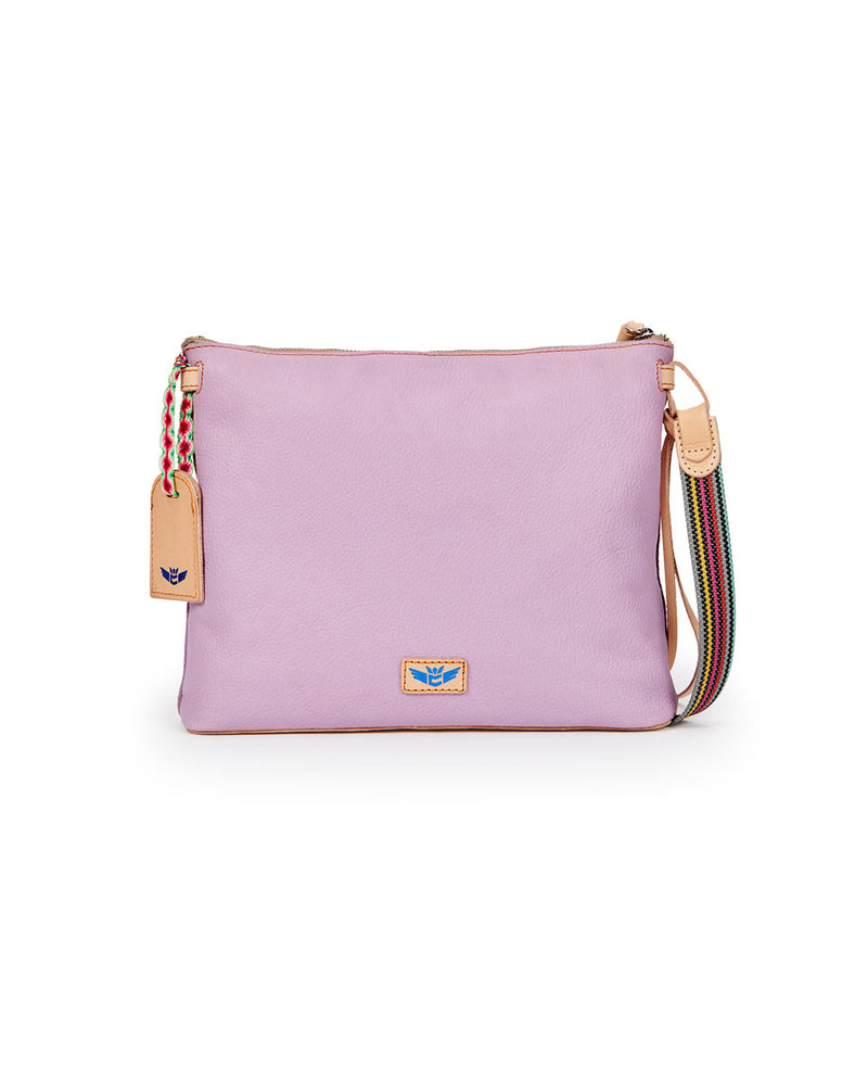 Lila Downtown Crossbody in lilac pebbled leather by Consuela, back view