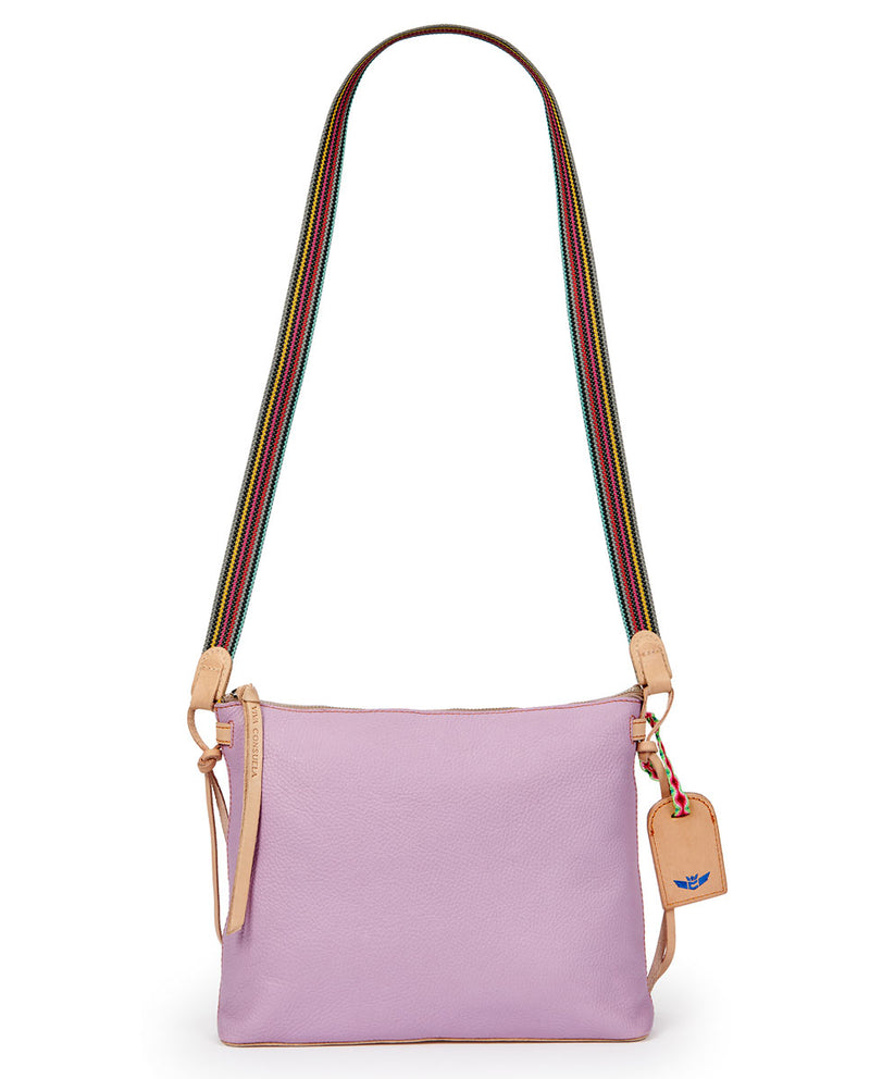 Lila Downtown Crossbody in lilac pebbled leather by Consuela, strap view
