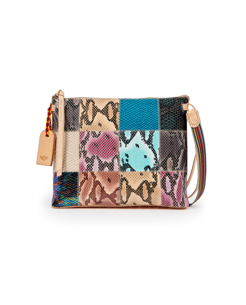 Sadie Downtown Crossbody in patchwork snake print by Consuela, front view