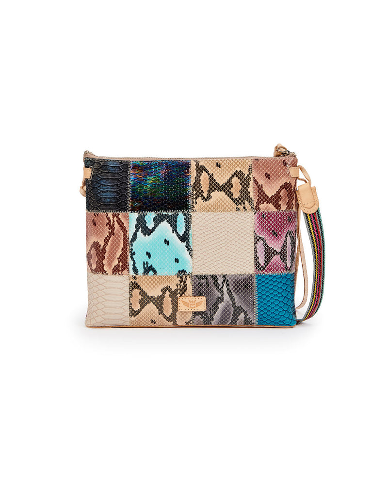 Sadie Downtown Crossbody in patchwork snake print by Consuela, back view