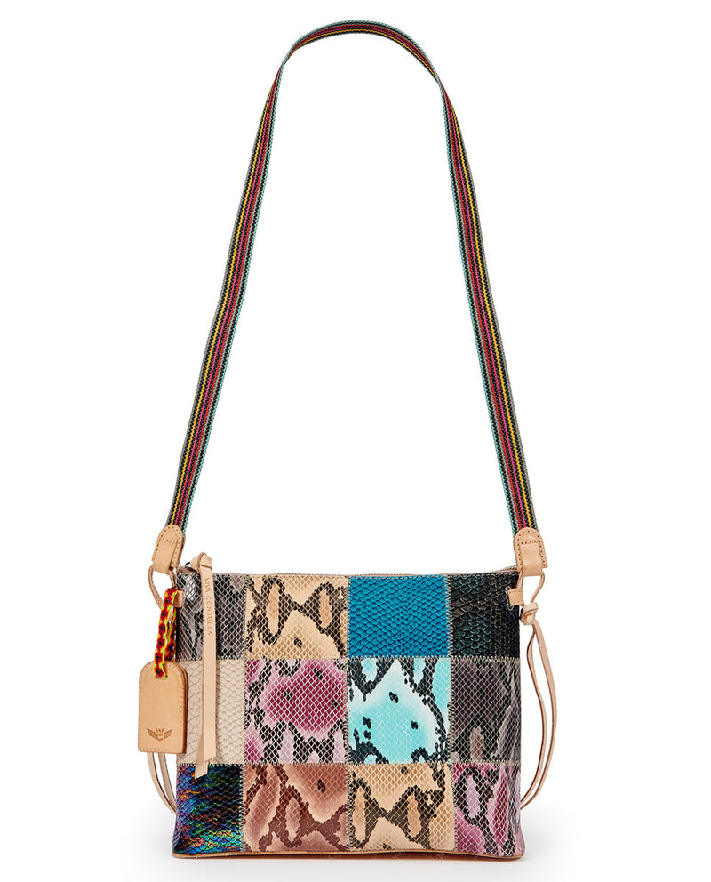 Sadie Downtown Crossbody in patchwork snake print by Consuela, strap view