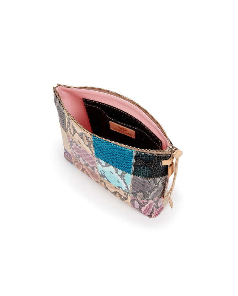 Sadie Downtown Crossbody in patchwork snake print by Consuela, interior view