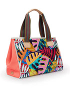 Coral Grande Tote with Maya ConsuelaCloth™ exterior with opaque orange mesh side panels, side view