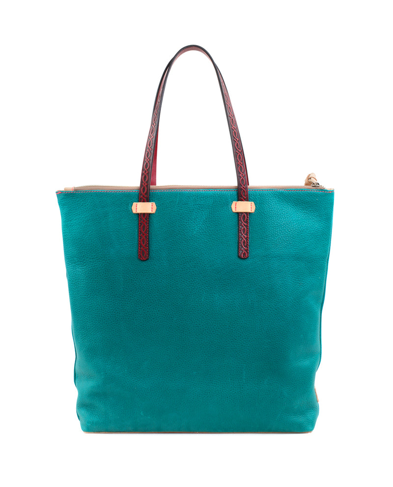 Guadalupe Market Tote in turquoise pebbled leather by Consuela, back view
