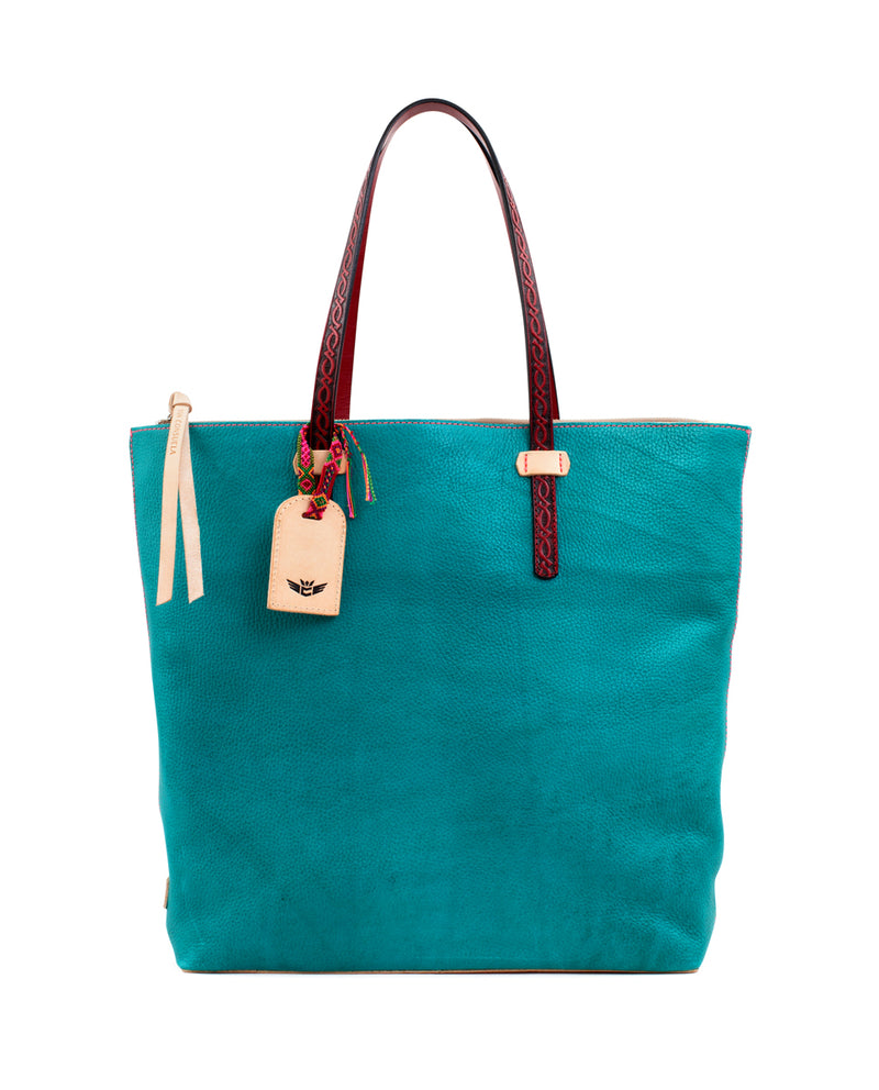 Guadalupe Market Tote in turquoise pebbled leather by Consuela, front view