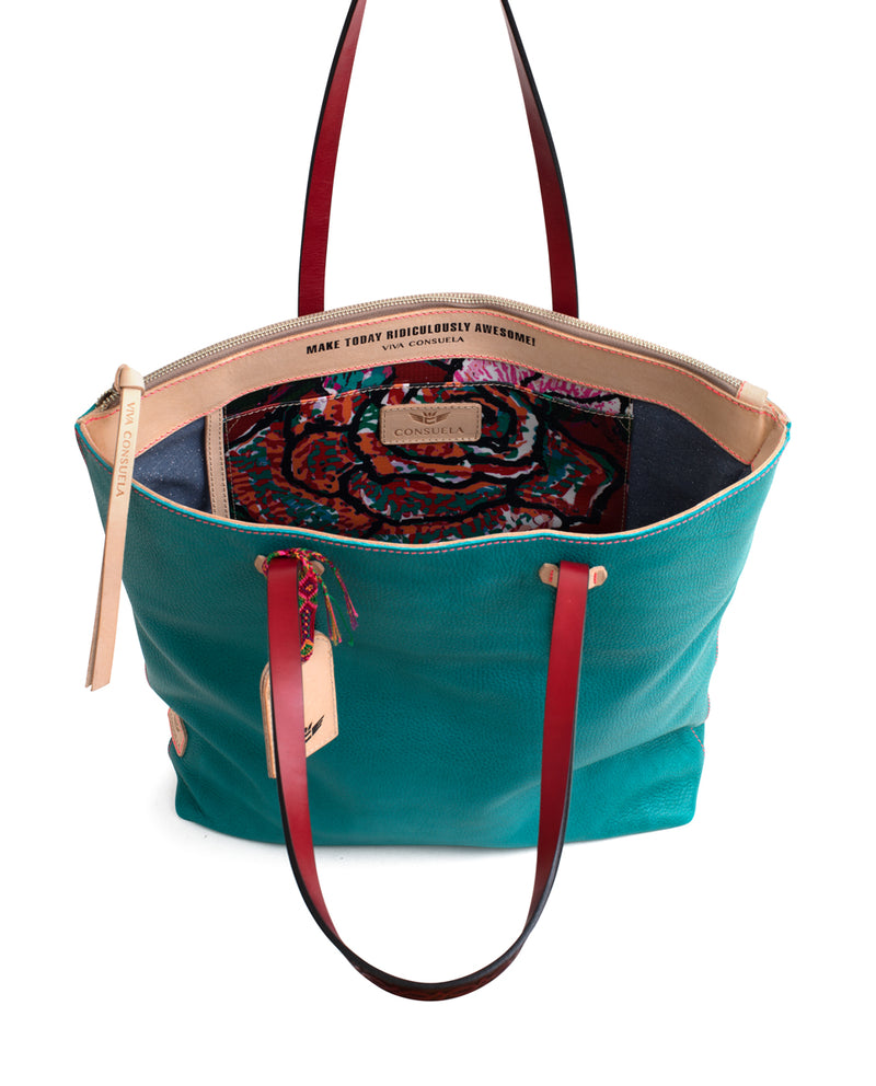 Guadalupe Market Tote in turquoise pebbled leather by Consuela, interior slide pocket