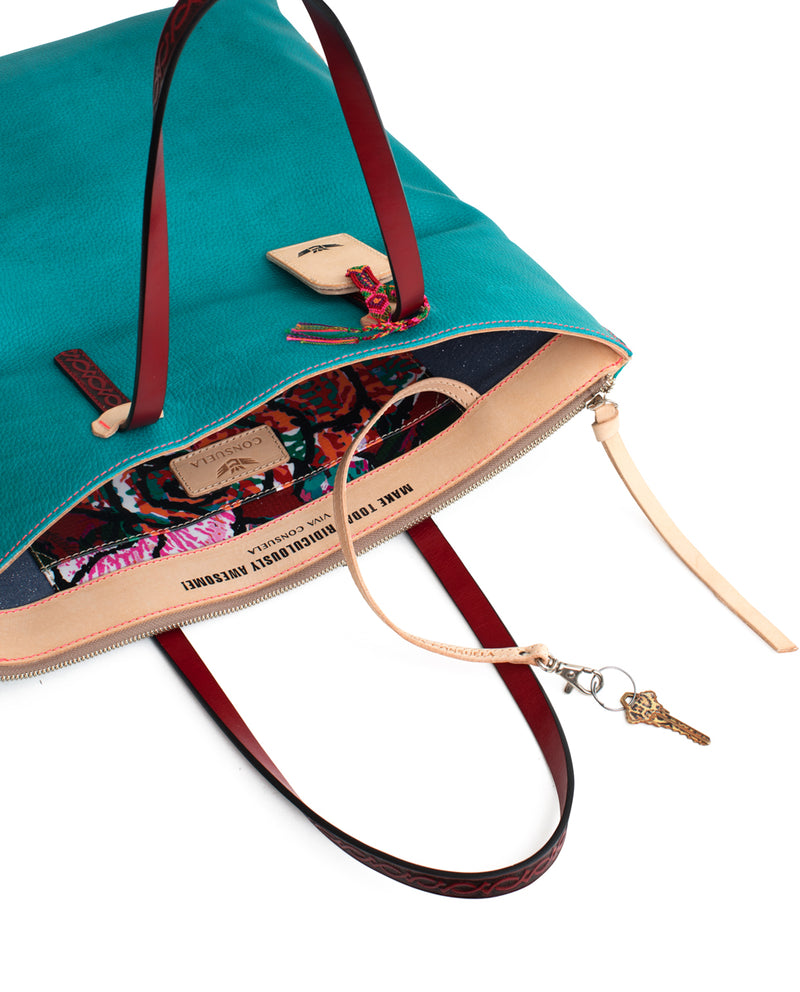 Guadalupe Market Tote in turquoise pebbled leather by Consuela, interior lanyard