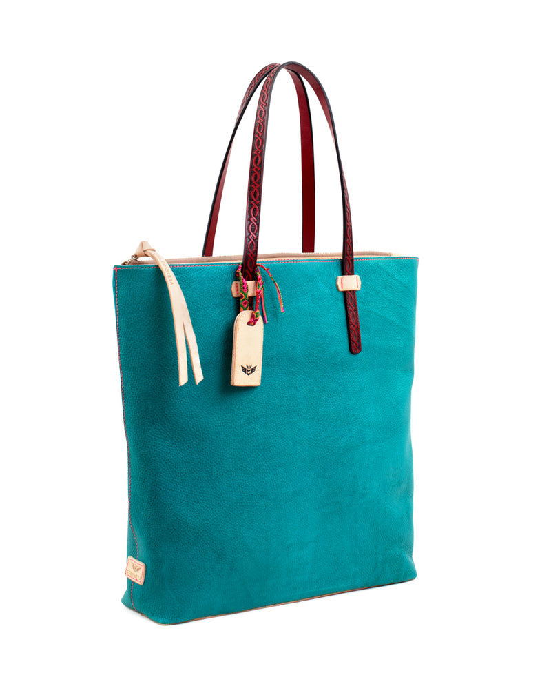 Guadalupe Market Tote in turquoise pebbled leather by Consuela, side view
