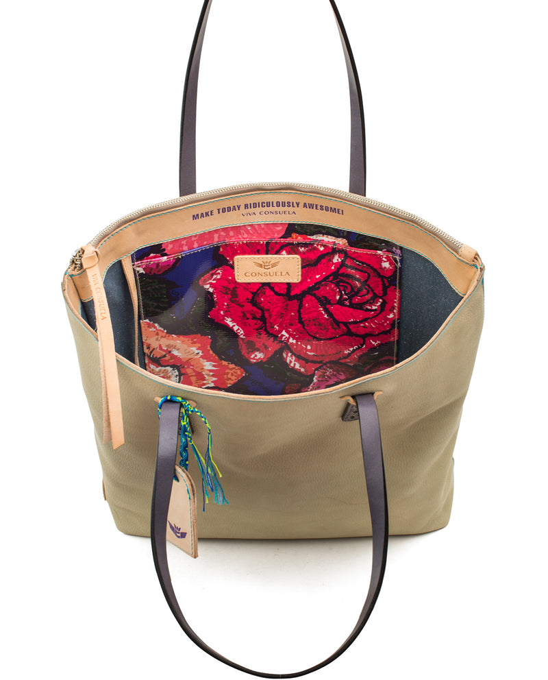 Paloma Market Tote in pebbled leather by Consuela, interior view