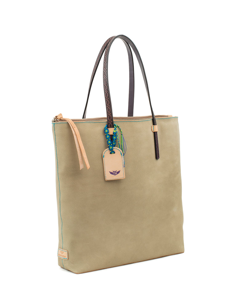 Paloma Market Tote in pebbled leather by Consuela, side view