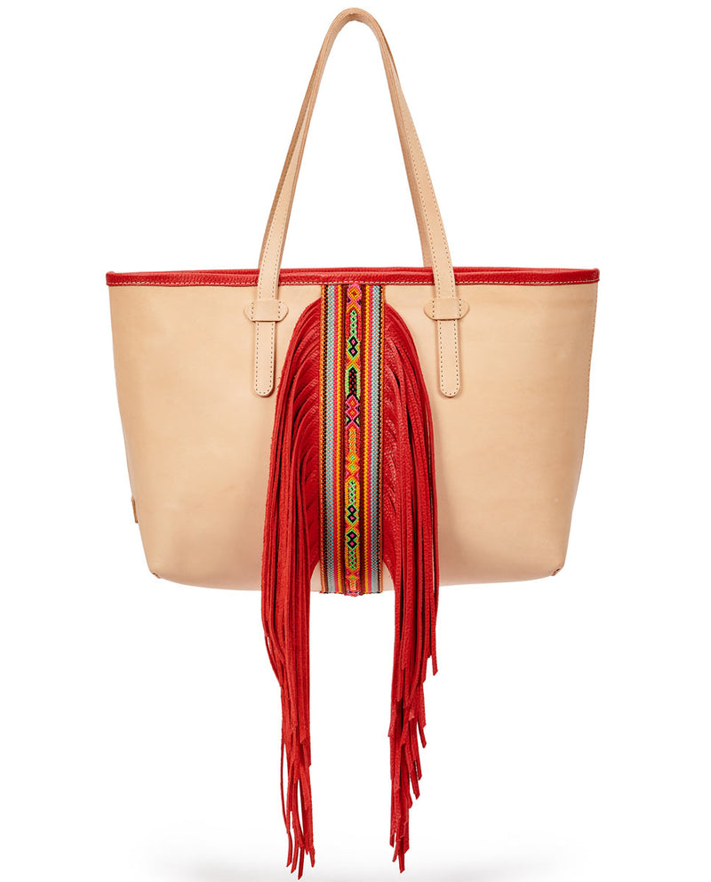 Kailey Breezy East/West Tote in natural leather with red fringe, by Consuela, front view