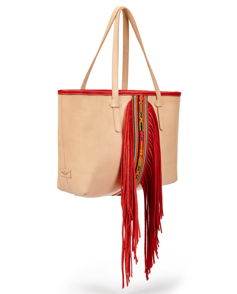 Kailey Breezy East/West Tote in natural leather with red fringe, by Consuela, side view