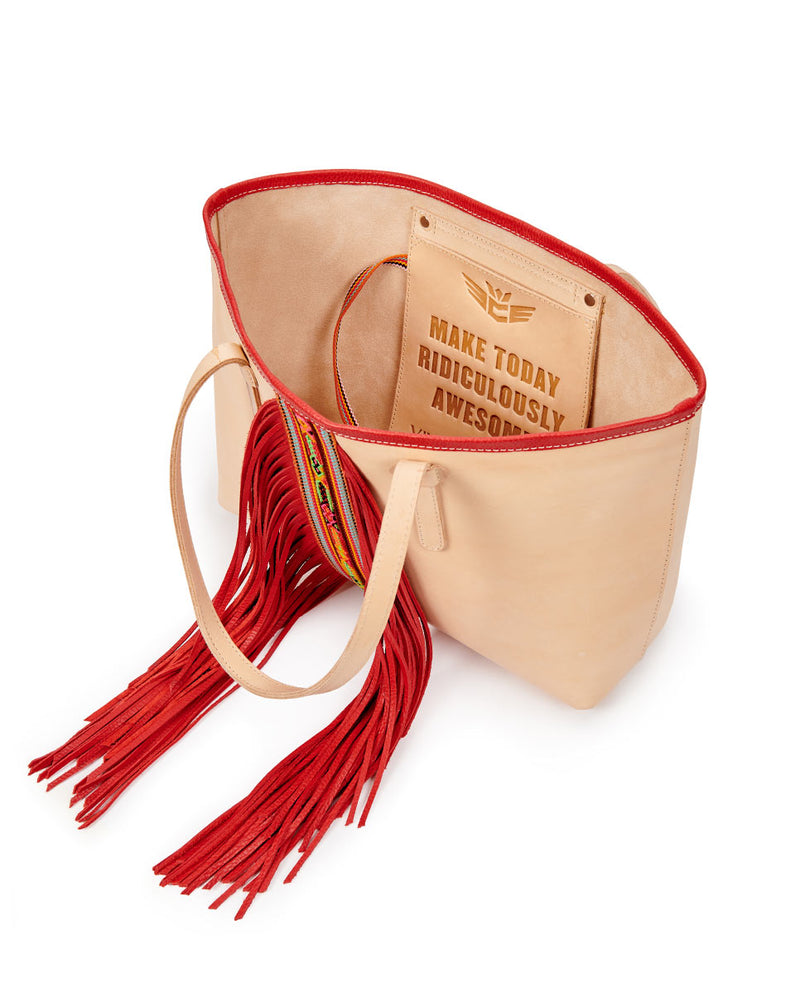 Kailey Breezy East/West Tote in natural leather with red fringe, by Consuela, open view