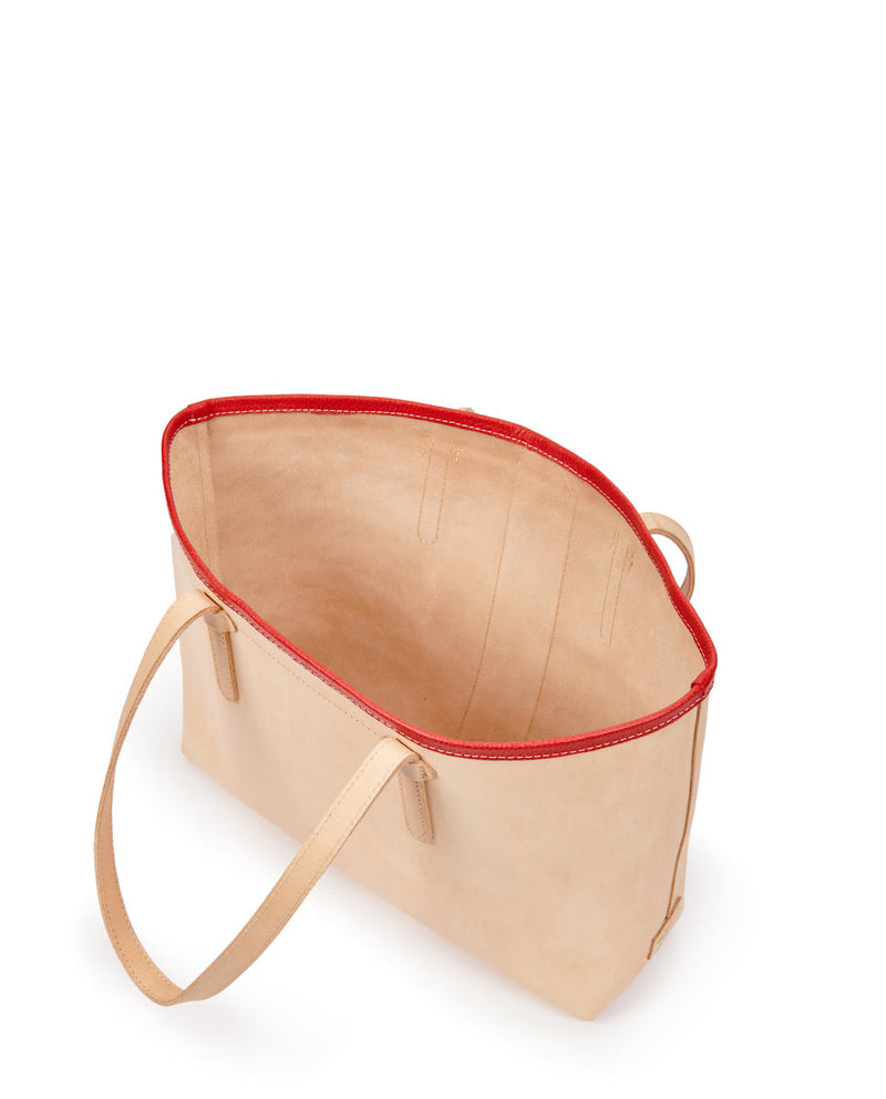 Kailey Breezy East/West Tote in natural leather with red fringe, by Consuela, interior view