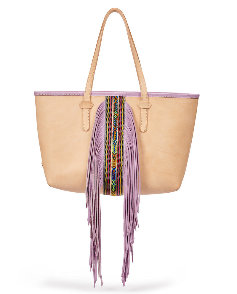 Kai Breezy East/West Tote in natural untreated leather with purple trim and beads by Consuela, front view