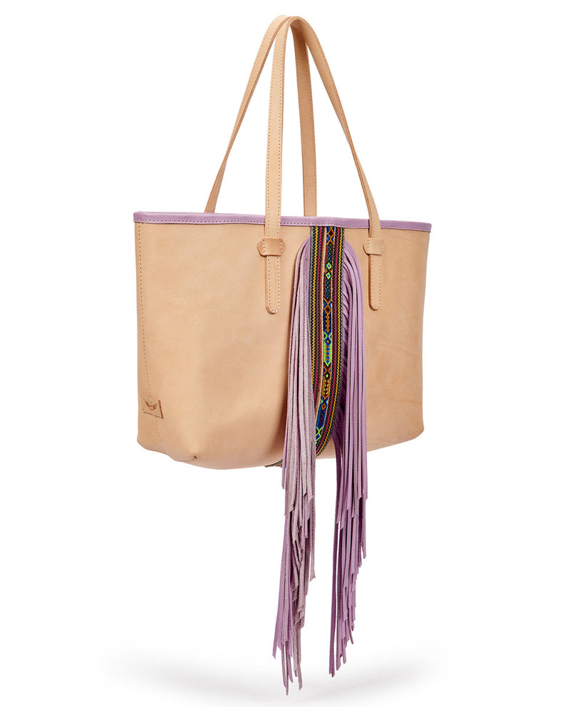 Kai Breezy East/West Tote in natural untreated leather with purple trim and beads by Consuela, side view
