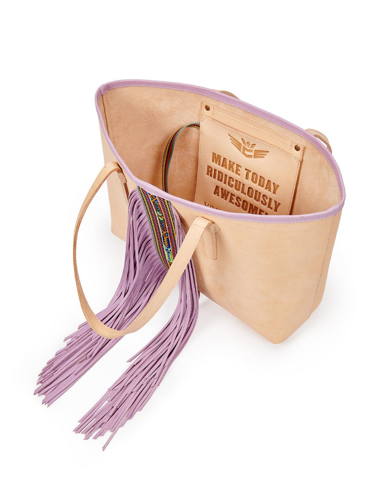 Kai Breezy East/West Tote in natural untreated leather with purple trim and beads by Consuela, interior view