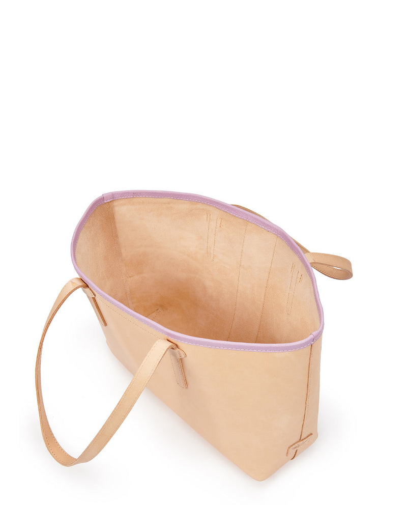 Kai Breezy East/West Tote in natural untreated leather with purple trim and beads by Consuela, interior view 2