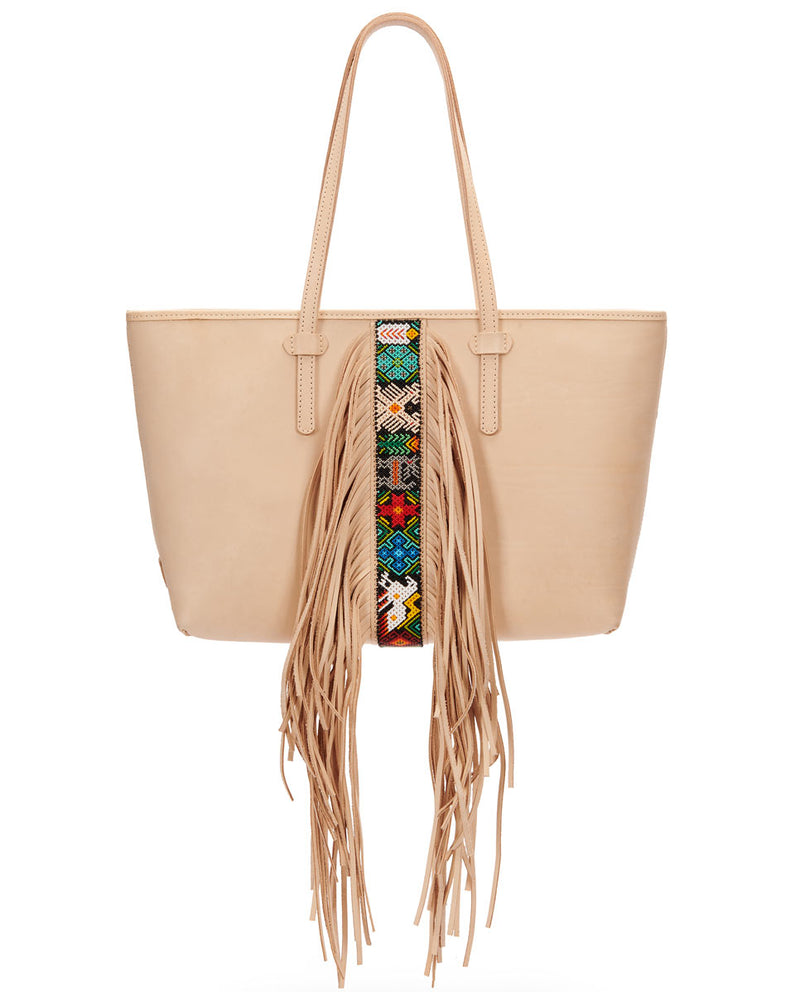 Shakira Breezy East/West Tote in natural untreated leather with fringe and beading detail by Consuela, front view