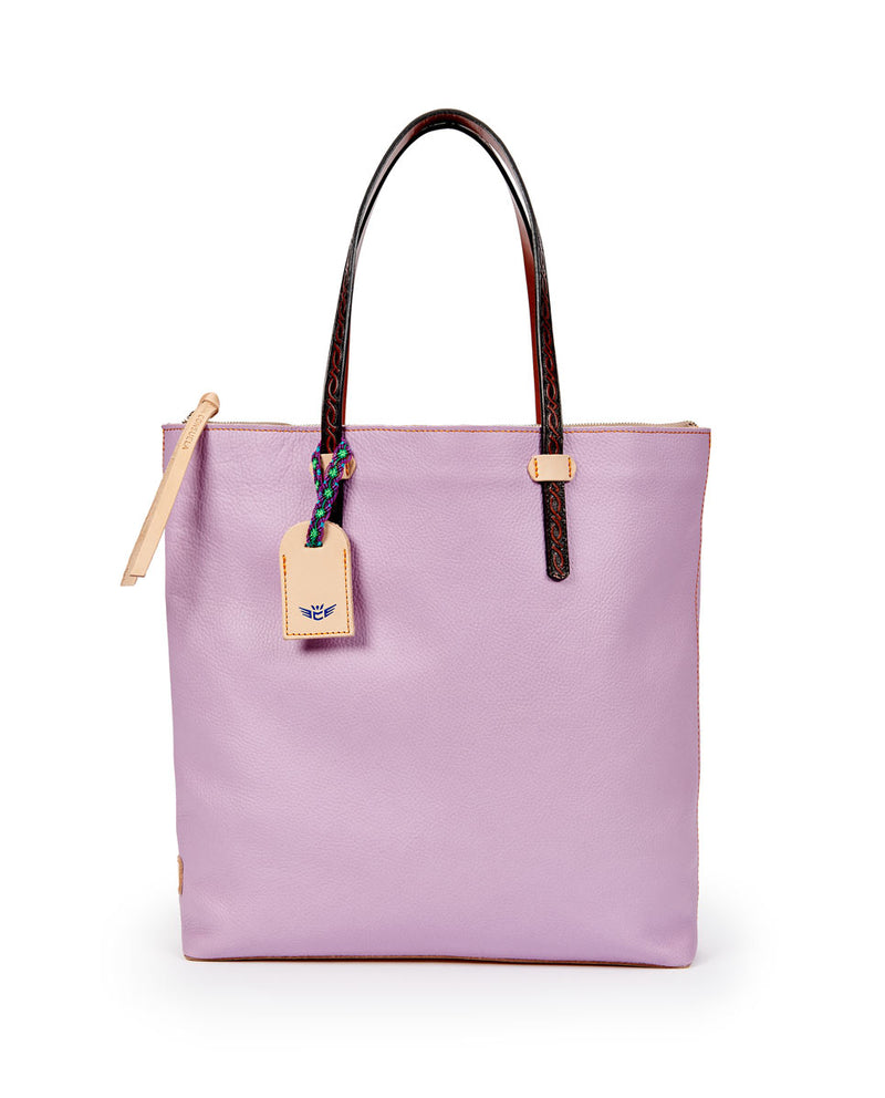 Lila Market tote in lilac pebbled leather by Consuela, front view