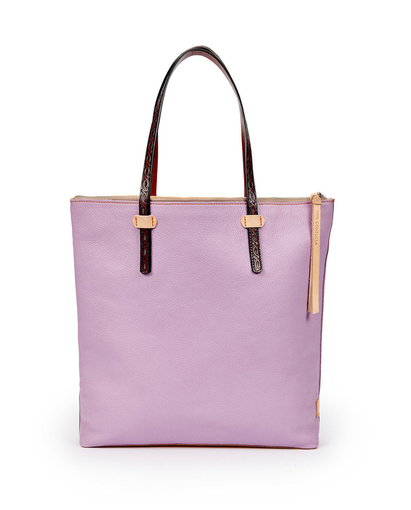 Lila Market tote in lilac pebbled leather by Consuela, back view