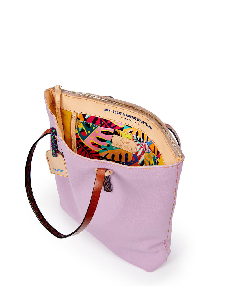 Lila Market tote in lilac pebbled leather by Consuela, interior view