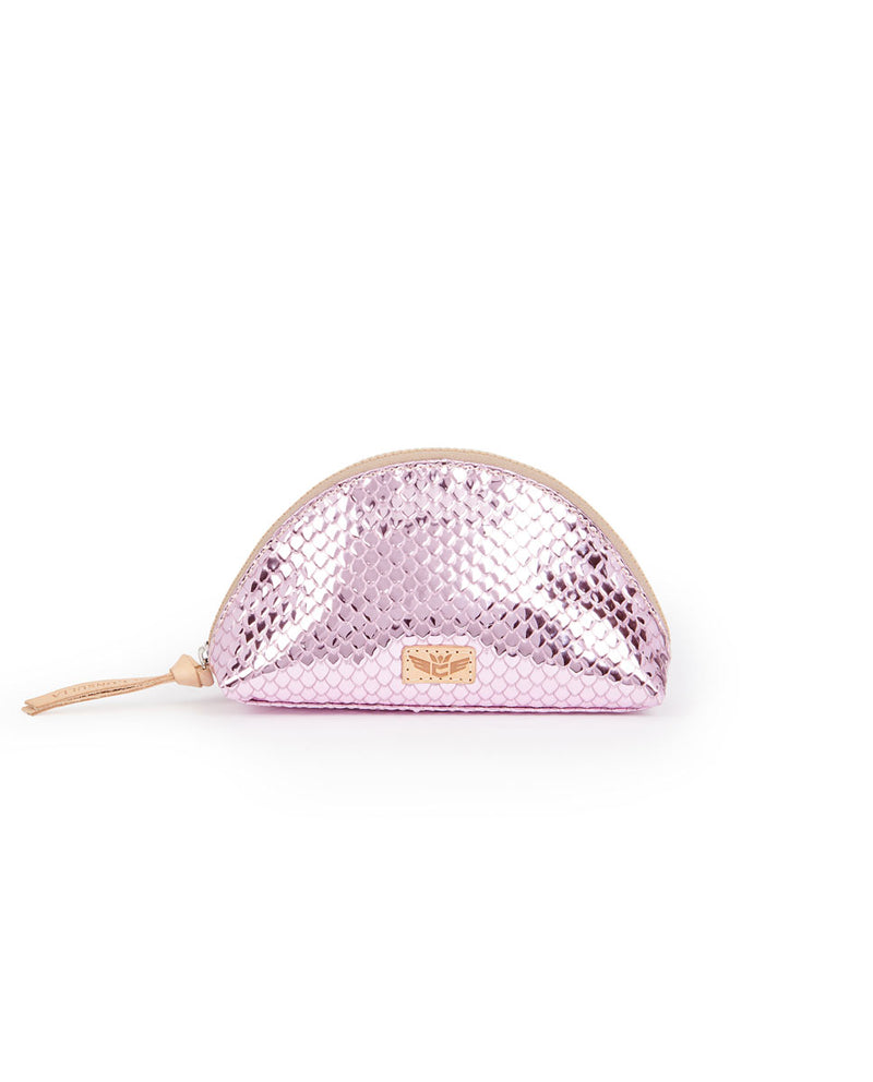 Elle Medium Cosmetic in pink metallic snakeprint by Consuela, front view