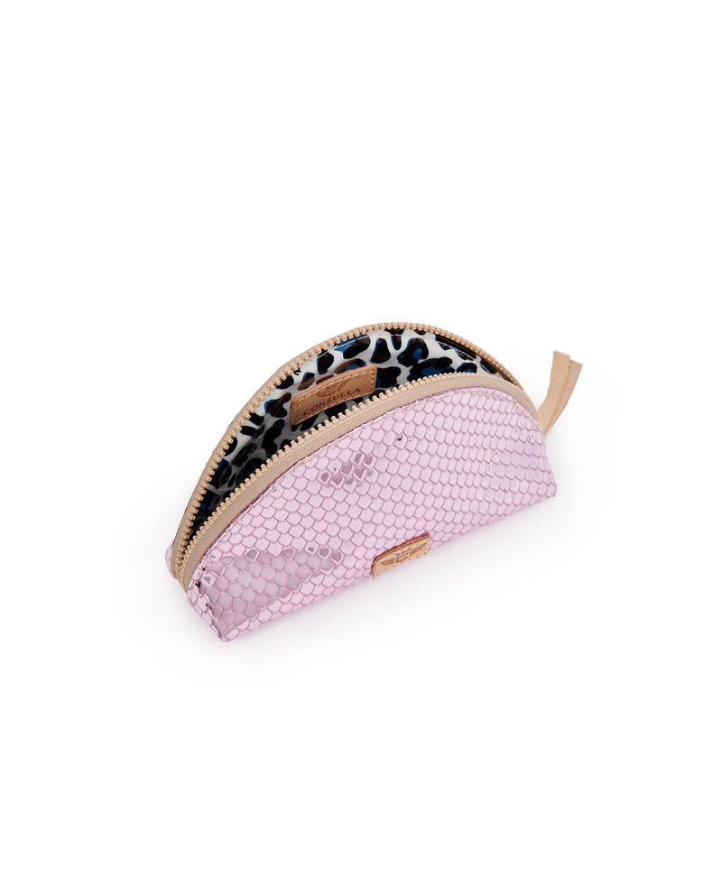 Elle Medium Cosmetic in pink metallic snakeprint by Consulea, interior view