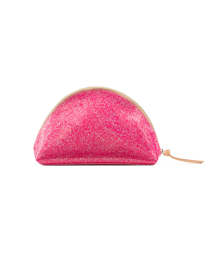 Hottie Glitz large cosmetic in pink shimmer by Consuela, back view