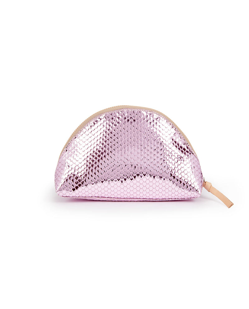 Elle Large Cosmetic in pink metallic snakeskin by Consuela, back view