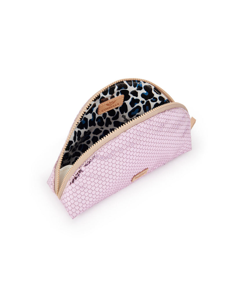 Elle Large Cosmetic in pink metallic snakeskin by Consuela, interior view