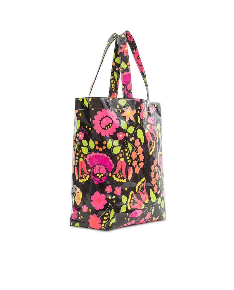 Neon Floral Grocery Bag