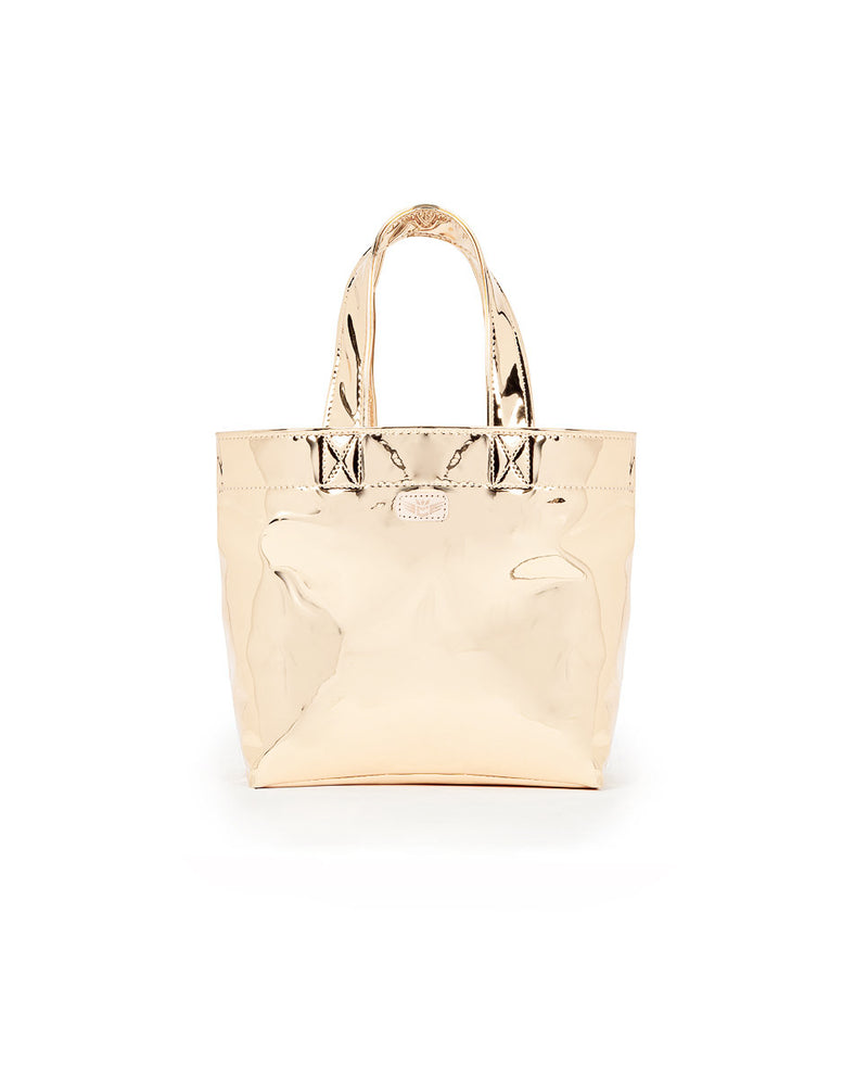 Goldie Mini Bag in Gold Metallic exterior by Consuela, front view