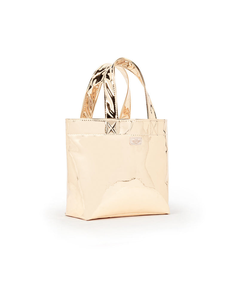 Goldie Mini Bag in Gold Metallic exterior by Consuela, side view