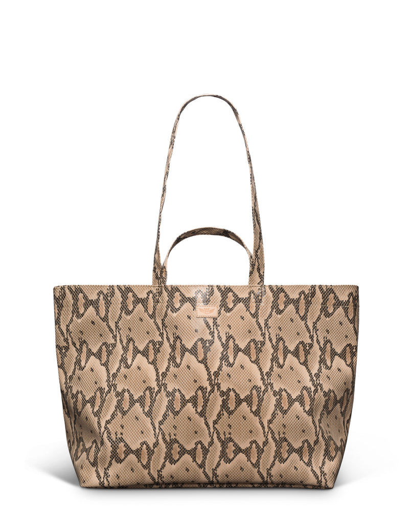 Margot Jumbo Bag in brown snake print by Consuela, front view