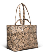 Margot Jumbo Bag in brown snake print by Consuela, side view