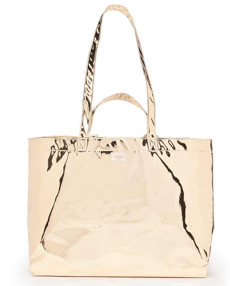 Goldie Jumbo Bag in metallic gold by Consuela, front view