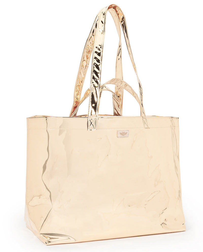 Goldie Jumbo Bag in metallic gold by Consuela, side view