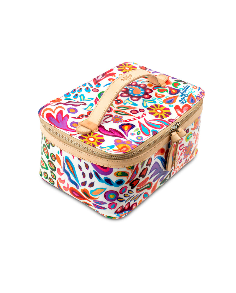 White Swirly Train Case in ConsuelaCloth™ by Consuela, top view