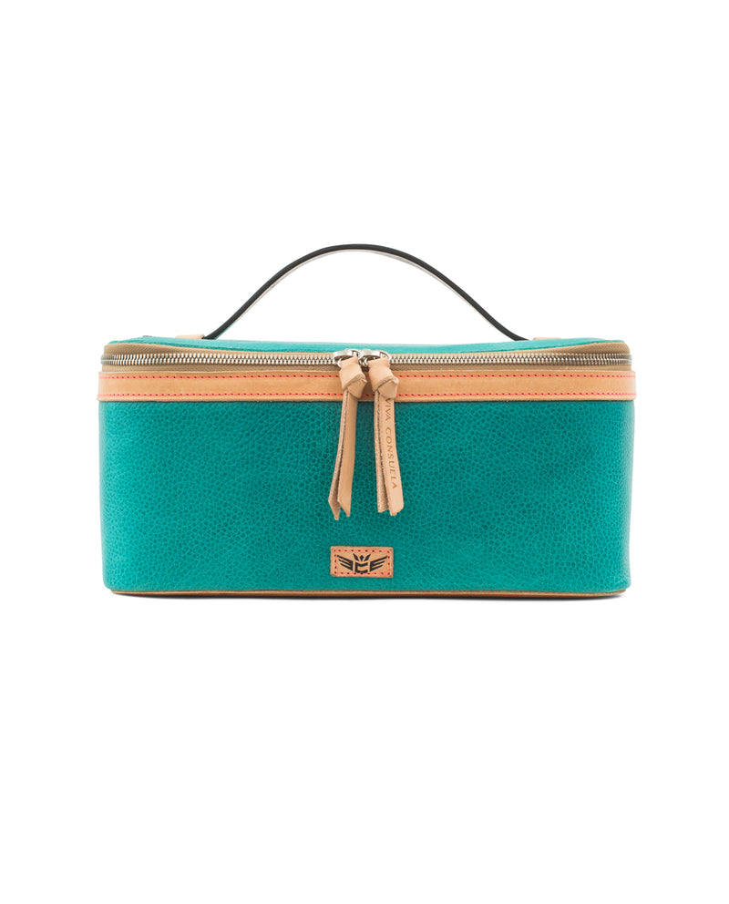 Guadalupe  train case in turquoise leather by Consuela, front view 2