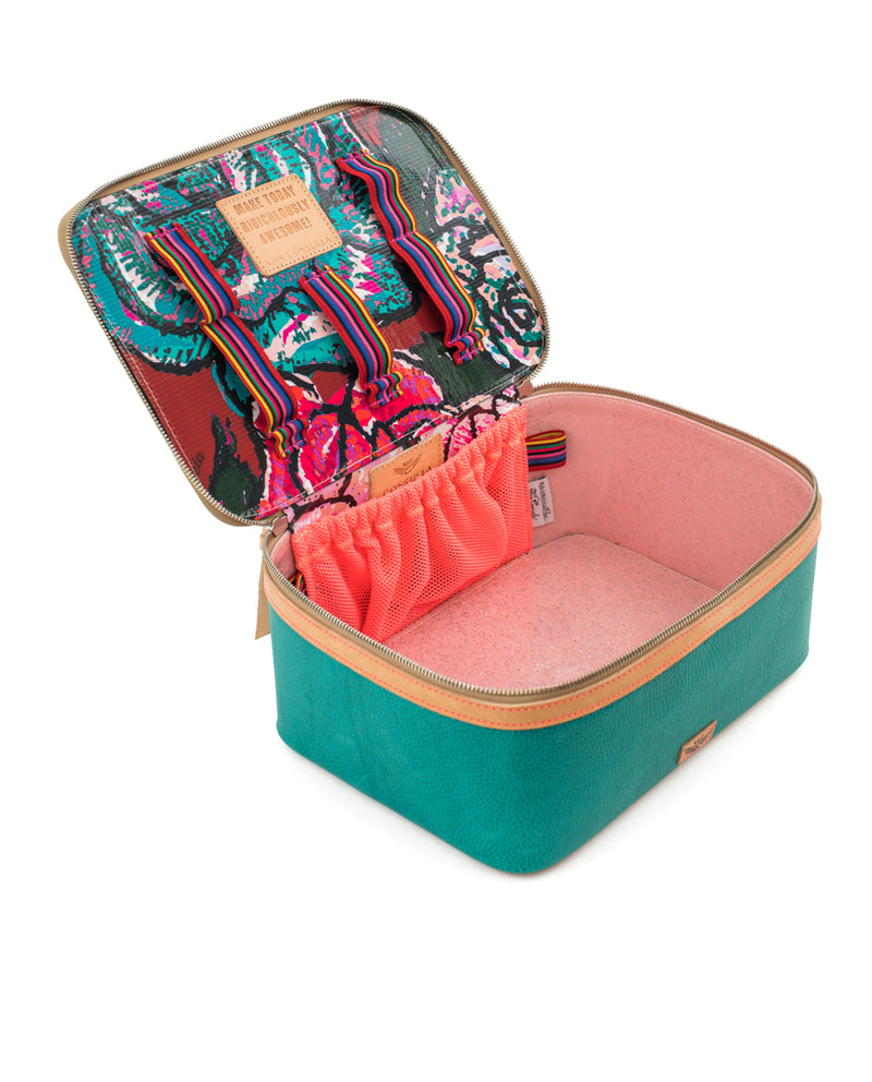 Guadalupe  train case in turquoise leather by Consuela, interior view