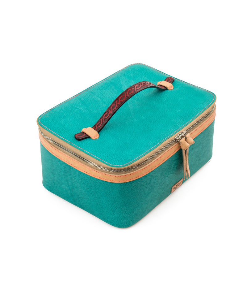 Guadalupe  train case in turquoise leather by Consuela, top view