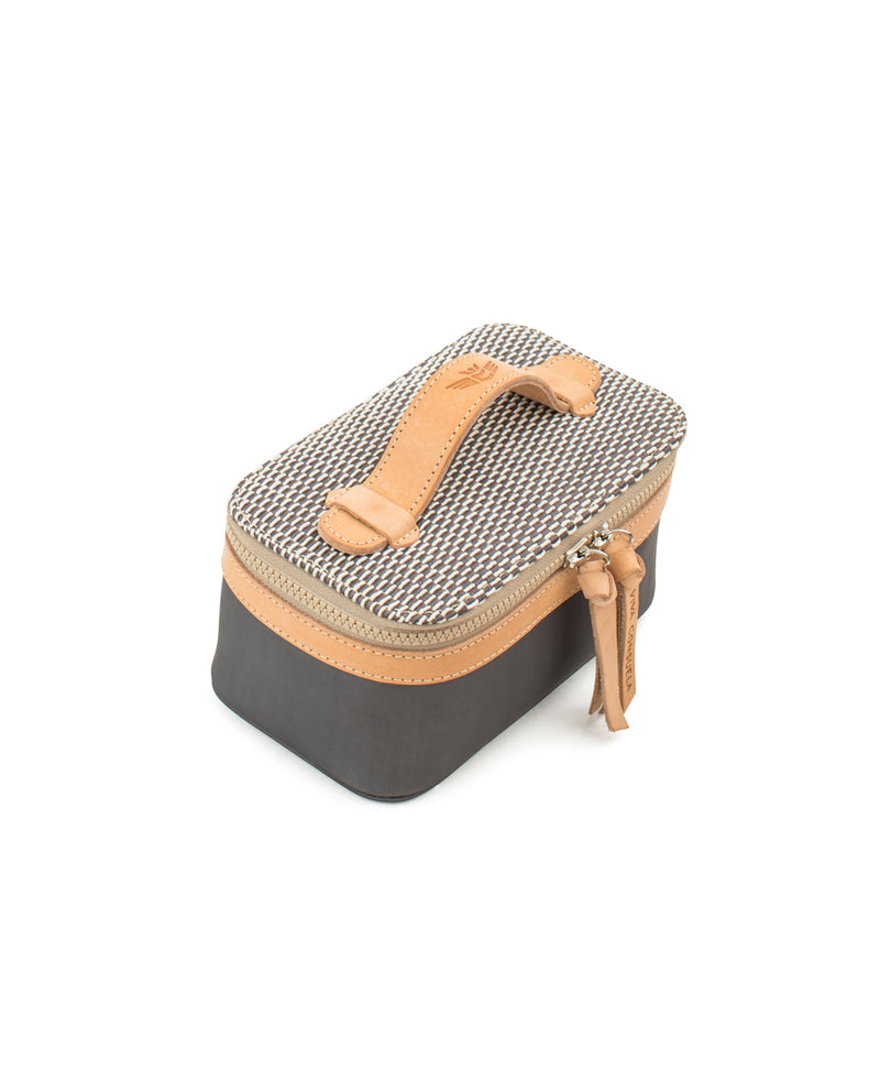 Smokey Mini Train Case in grey by Consuela, top view