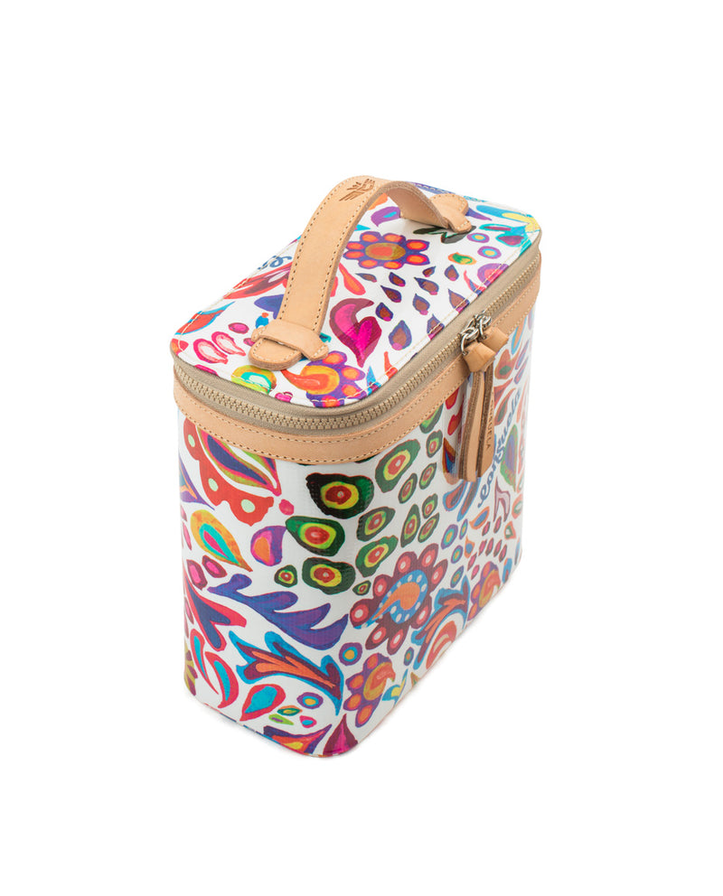 White Swirly Slim Train Case
