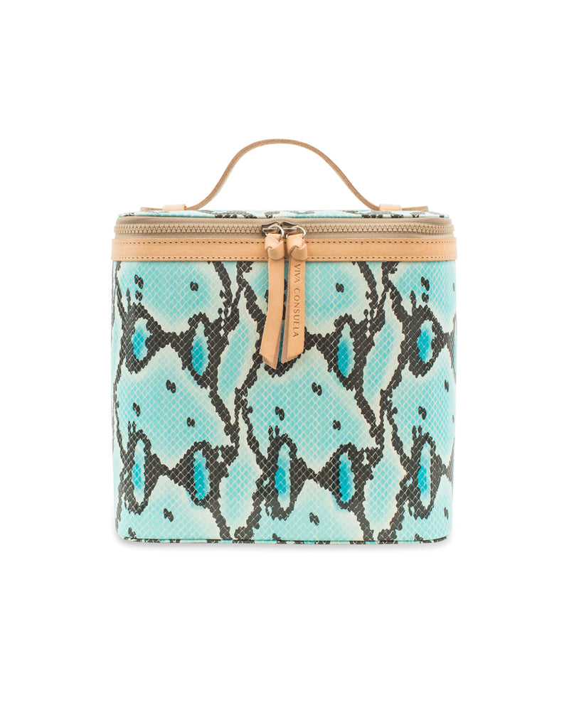 Carmen Slim Train Case in turquoise snake print by Consuela, front view 2